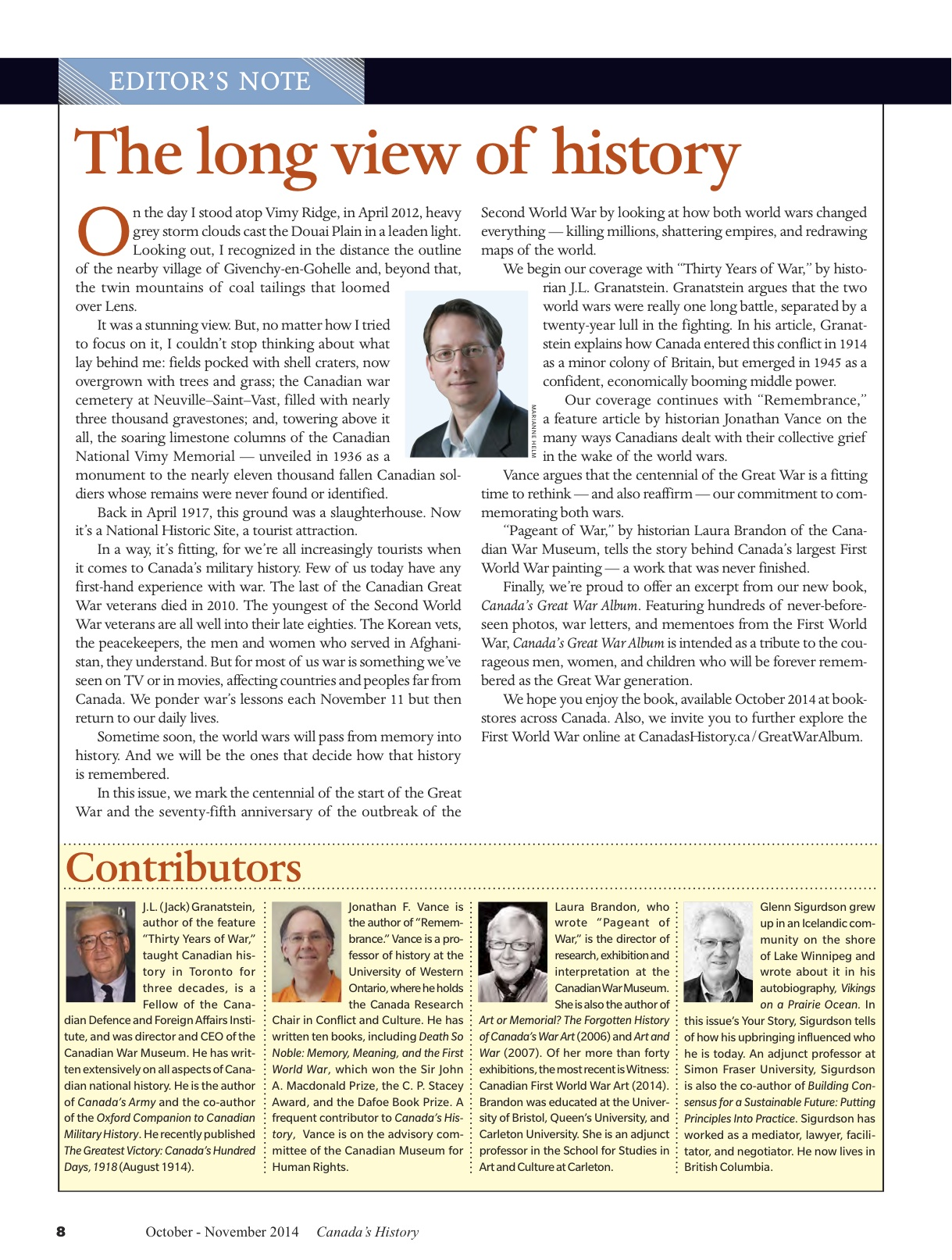 Canada's History editor's note OctNov14