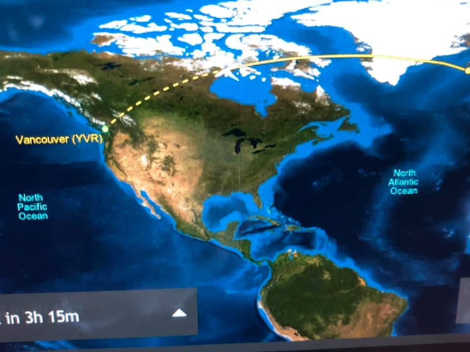 Flight route from Vancouver to Reykjavik